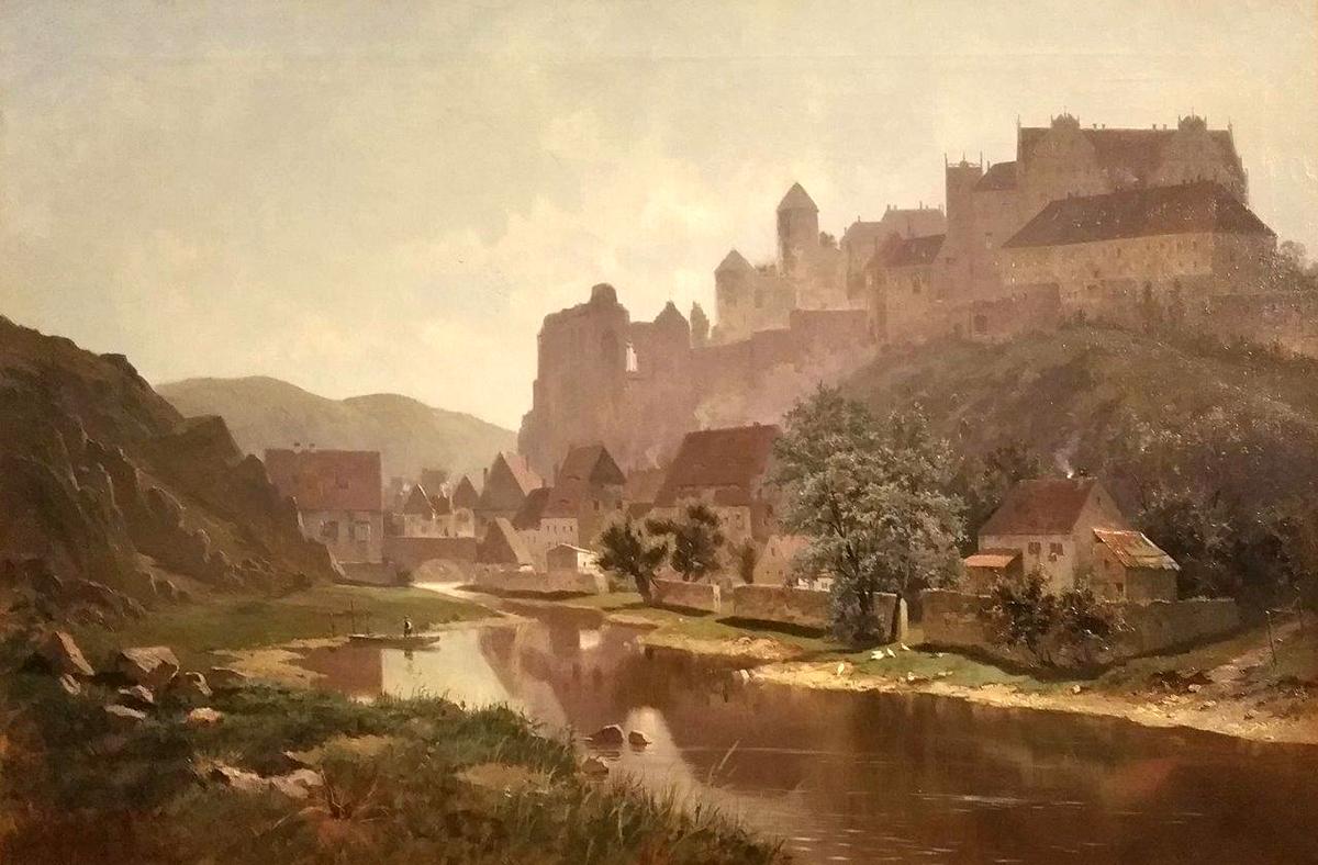 Gemälde Ortenburg auf Feldplateau über der Spree